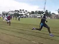目隠しで走る50メートル走でガチ走りしたヤツが(´・_・`)やっぱりな事になるビデオ。