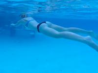 新婚旅行のカリブ海でサメに襲われかけた美脚美尻お姉さんのビデオ。