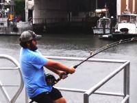 おかっぱりで怪物級の魚を狙う男のビデオ。まず竿がすごいwww