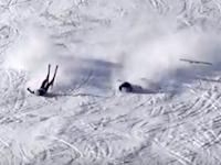 長野のスキー場で撮影されたスキーヤー同士の危険な衝突YouTube