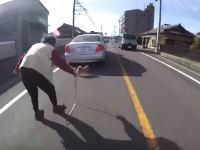 ほのぼので良かった動画。道路を逃げ回る柴犬とおばあちゃんを助けてあげた車載。
