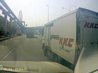 オレオレ動画。釣りの帰りにKKCのトラックに怖い事をされたドライブレコーダー。