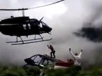 どうしてこうなった?救助にやってきたヘリコプターが墜落してしまう衝撃映像。