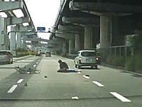 大阪中央環状線で起きた無謀すぎるチャリンコと営業車っぽいバンの事故。これひどい。