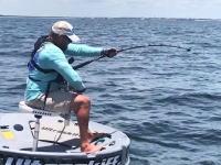 乗っている船とほぼ同サイズという巨大魚をキャッチした釣り人の映像。