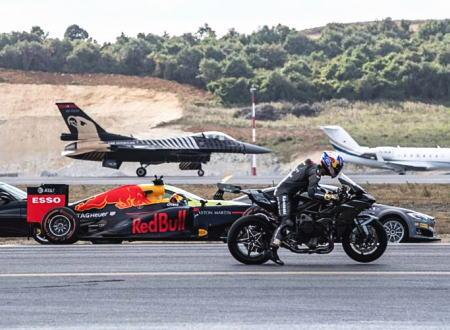 夢の対決。F1マシン、F-16戦闘機、カワサキH2Rが空港滑走路で加速対決。