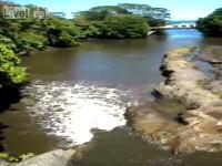 今まで下流に流れていた川が突然逆流しだす映像