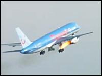 離陸間際に鳥を吸い込みエンジンから出火
