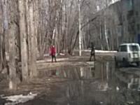 なんの前触れもなく突然倒れてきた木に襲われてしまう女性のビデオ。ギリギリ