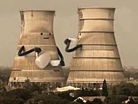 煙突の爆破解体の動画にアニメーションを追加した映像がサミカワシイと人気