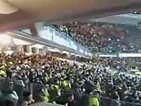 応援のジャンプでスタジアムが恐ろしいほどに揺れている映像。これは怖いw