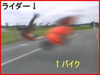 恐怖映像!時速220kmでコースアウトしたバイクがカメラ目掛けてすっ飛んでくる