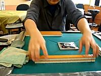 牌拭き(洗牌)名人の華麗な技。麻雀牌を最小の手順で拭き上げる方法。