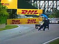 F1カナダGP。小林可夢偉に轢かれそうになるコースマーシャル。これは酷いw