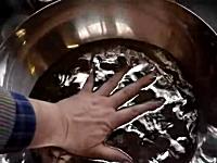 水銀がたっぷり入ったボウルに素手を入れるとどうなるのん?面白実験。