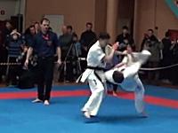 これはカッコイイ空手K.O.動画。新極真会ロシアで見事な浴びせ蹴りが炸裂