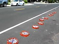 なんか通り過ぎたwww路上で500本の花火に同時点火で凄い事にwww