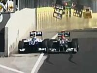 F1ハンガリーGPでシューミがバリチェロをウォールへと追いやった危険な幅寄せ