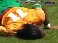 W杯が心配になってきた。アフリカの英雄を破壊した田中の飛び膝蹴り動画