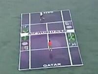 テニスのカタール・オープンを記念してナダルとフェデラーが海の上でテニス