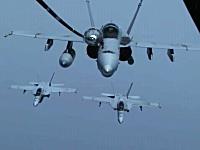 グングン動画。軍用機の空中給油映像。B-1戦略爆撃機、F/A-18戦闘攻撃機