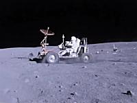 アポロ16号のLRV(月面車)による手ブレ補正された高画質なドライブ映像。