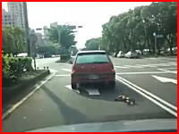 リードが引っかかって走る車に引きずられ続けるワンコ。奇跡的に助かる。