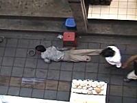 世界にはこんな人も居るんだよ 地面を這って物乞いする人、少女と老人の物乞い