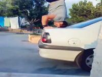 呆然www車のトランク部分で3点倒立を試みる男性に起こった悲劇www