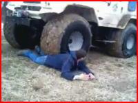 本気でヤバそう。トラックに踏まれるスタントで体の上で止まってしまい・・・。