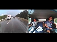 シートベルトの重要性。後ろから突っ込まれたトラックの車内映像。ドラレコ