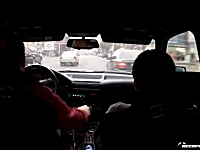 公道で映画のスタントシーンのような運転。BMW M5に乗った海外の走り屋。