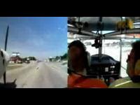 衝撃の機内映像!飛行機が一般道路に着陸する凄いムービー