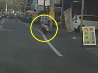 この当たり屋怪しすぎwww道路脇にしゃがみ込んでターゲットが来たらピョン