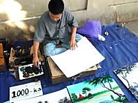 ハケとヘラで美しい風景画を描き上げるストリートアーティスト。これは素敵。