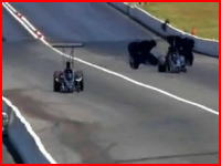 ドラッグレースで不運な死亡事故の映像 空力ブレーキがぶっ飛んでしまう