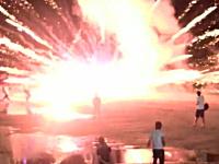 なにこれ逃げろ。新年を花火で祝おうとしたら暴発してコワイ。なタイタイ動画