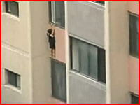 高層マンションの6階から4歳の女の子が落下するちょっと信じられない映像