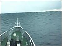 海保巡視船が11日に福島県の沖合で津波に遭遇した時の映像が公開される