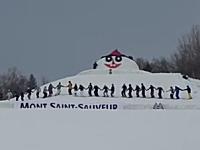 スキーの神動画。30人で手を繋いで同時エアリアル!大人数宙返り達成映像