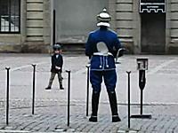 これはカワ(・∀・)イイ!衛兵さんの真似をする小さな男の子のムービー