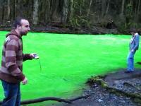 どうしてこうなった。不自然なほど蛍光色に染まった川。ゴールドストリームリバー