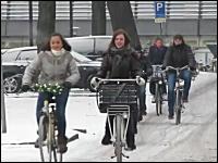 雪道でもお構いなしに自転車に乗る雪国の人たち動画。オランダユトレヒト