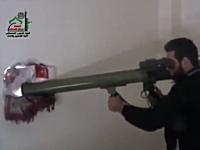 シリア動画。アサド軍の戦車をロケットランチャーの一撃で仕留める反政府兵
