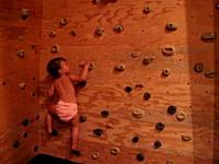 垂直の壁を登っちゃう2歳前のお子様ビデオ。玩具に釣られてボルタリング。