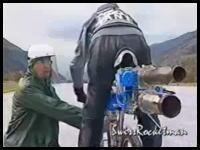 はええええええ!w ロケットエンジン付き自転車で爆走w