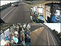 死亡事故。衝撃の正面衝突。路線バスに対向車が猛スピードで突っ込む。